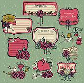 Set of sweet red rose memories labe
