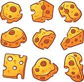 Cartoon cheese pieces