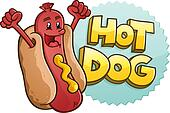 Hot Dog Cartoon Character With Embl