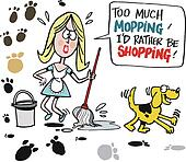 Woman mopping floor cartoon