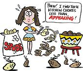 Cartoon of woman peeling potatoes