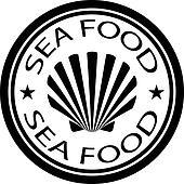 vector sea food shell stamp