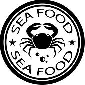 vector sea food crab stamp