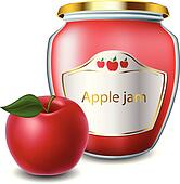 Apple jam with jar