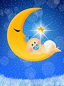 Child sleep on the moon