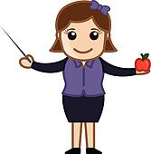 Teacher with Stick and Apple
