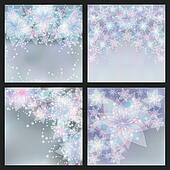 Set of silver backgrounds with flowers. Set of greeting or invitation cards. Festive glowing floral banners.