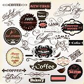 Calligraphic design elements and vintage labels for  cafe design