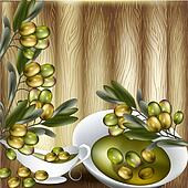 Close up vector background with olives branch and olive oil on w