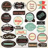 Collection of vintage labels coffee, ice cream and quality for d