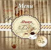 Elegant menu design with coffee elements on wood texture in vint
