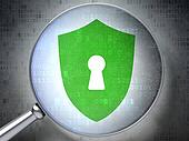 Security concept:  Shield With Keyhole with optical glass on dig