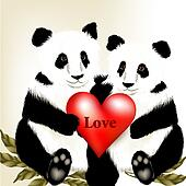 Cute couple of cartoon  panda bears holding big red heart with w