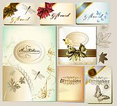 Luxury invitation and gift cards with floral elements and bows