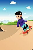 Kids playing skateboard