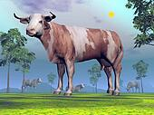Cows in nature - 3D render