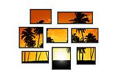 composition of several isolated windows of different size on a white wall with a view on tropical landscape at sunset