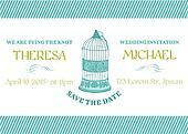 Wedding Vintage Invitation Card - Bird Cage Theme - for design, scrapbook - in vector