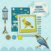 Scrapbook Design Elements - Vintage Birds Set - for design and scrapbook - in vector
