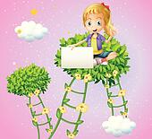 A girl holding an empty signboard sitting at the top of a plant