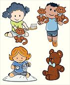 Cute Kids Playing Vector Characters