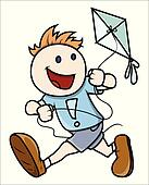 Kid Flying Kite - Vector Art