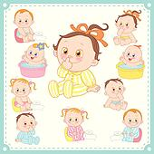 vector illustration of baby boys and baby girls