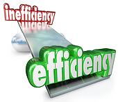 The word Efficiency wins in the balance against Inefficiency to illustrate the competitive advantage of being more effective, productive, capable or qualified versus a competitor, company or business