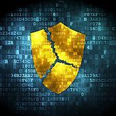 Privacy concept: Broken Shield on digital background