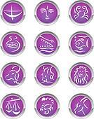 zodiac sign buttons Vector