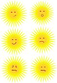 Different faces of sun - vector ill