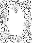 black calligraphy frame wine label vine grapes
