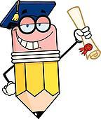 Pencil Graduate Holding A Diploma