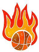 retro cartoon flaming basketball