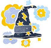 retro cartoon wizard hat