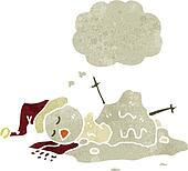 melting snowman retro cartoon