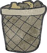 retro cartoon waste paper basket