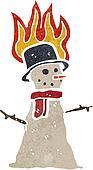 retro cartoon snowman melting
