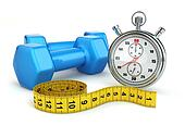 Fitness and dietimg concept. Stopwatch and dumbbells.