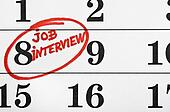 Calendar with a marked date marker job interview