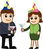 Man and Woman Having Drink in Party