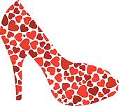 stiletto with red hearts