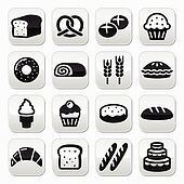Bakery, pastry buttons set - bread