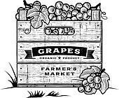 Retro crate of grapes B&W