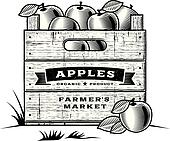 Retro crate of apples B&W