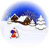 Christmas night vector illustration with Santa Claus.
