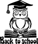 Decorative bird - owl with graduation cap and book, isolated on