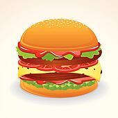 Fast Food Icon. Hamburger with Cheese, Relish