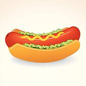Fast Food Vector Icon Hot Dog with Mustard, Relish