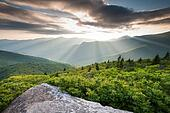 Blue Ridge Mountain Sunset Beams